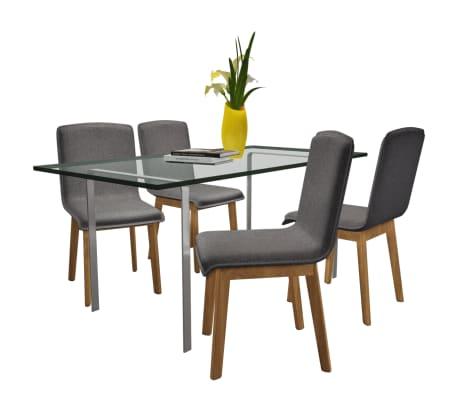 vidaXL Dining Chairs 4 pcs Dark Gray Fabric and Solid Oak Wood[2/6]