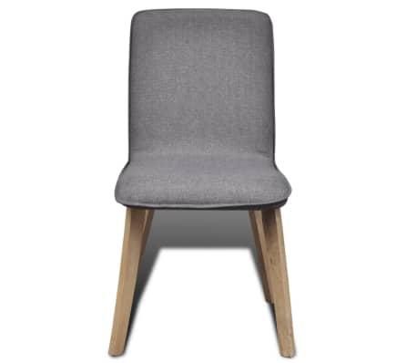 vidaXL Dining Chairs 4 pcs Dark Gray Fabric and Solid Oak Wood[3/6]