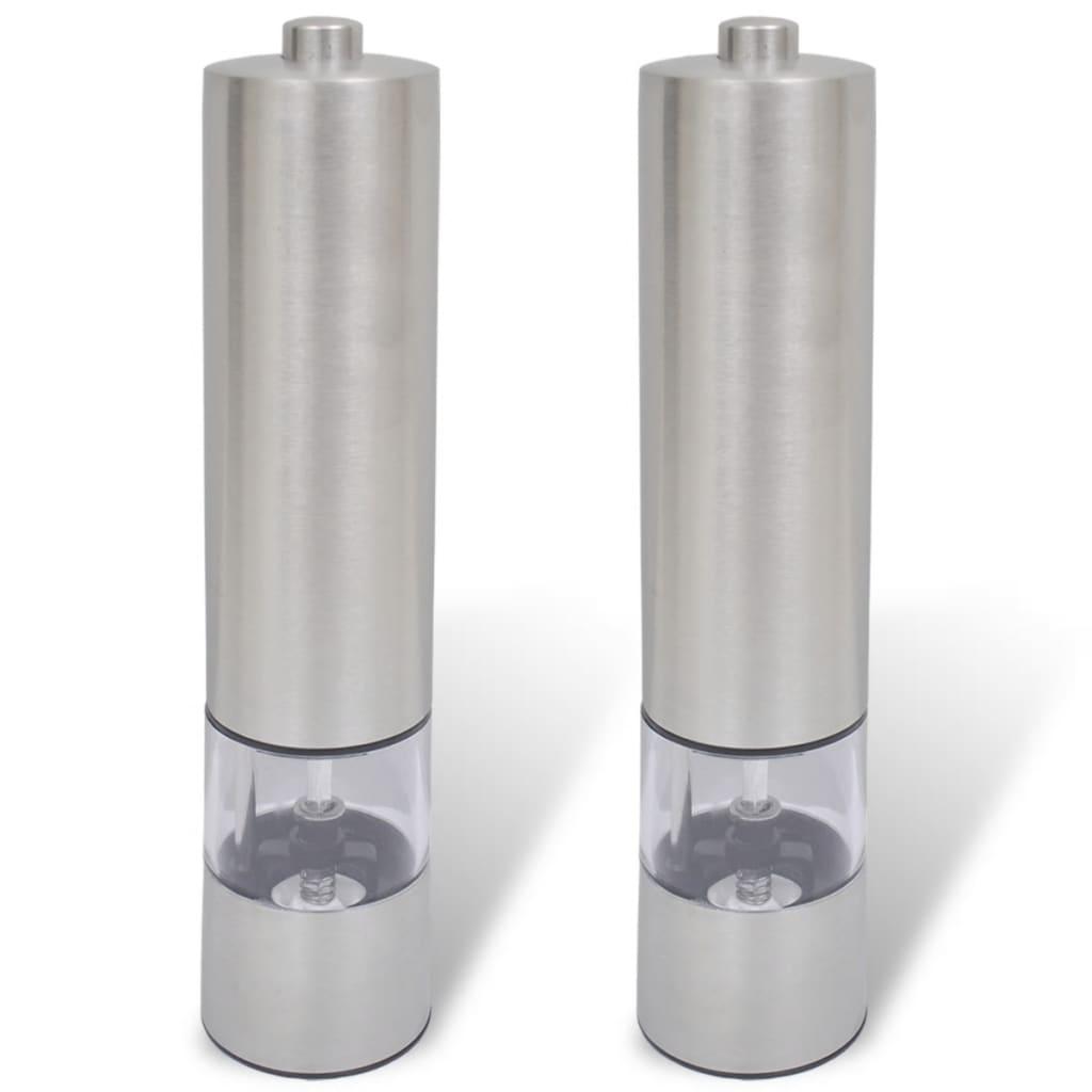 2 Râșnițe pentru sare și piper, electrice, din oțel inoxidabil poza vidaxl.ro