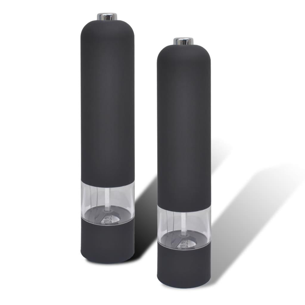 Râșnițe pentru sare și piper electrice din plastic, 2 buc, negru vidaxl.ro