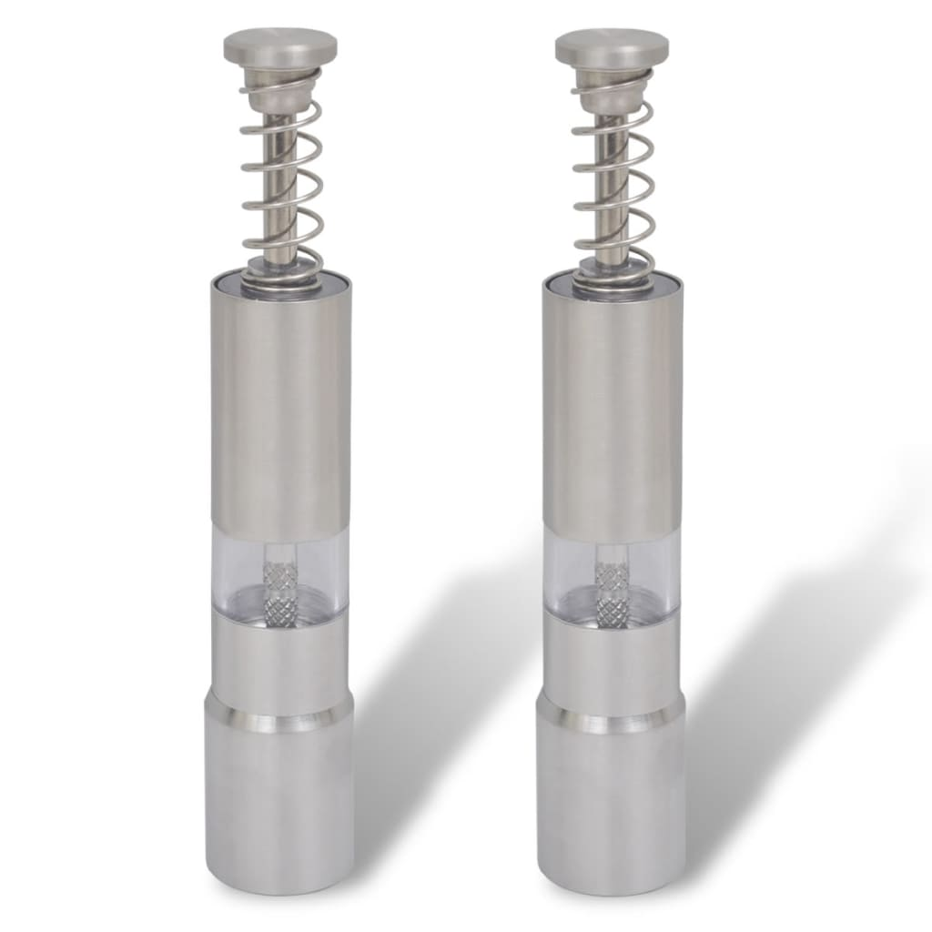 Râșnițe sare și piper, acționare prin arc din oțel inoxidabil, 2 buc. vidaxl.ro