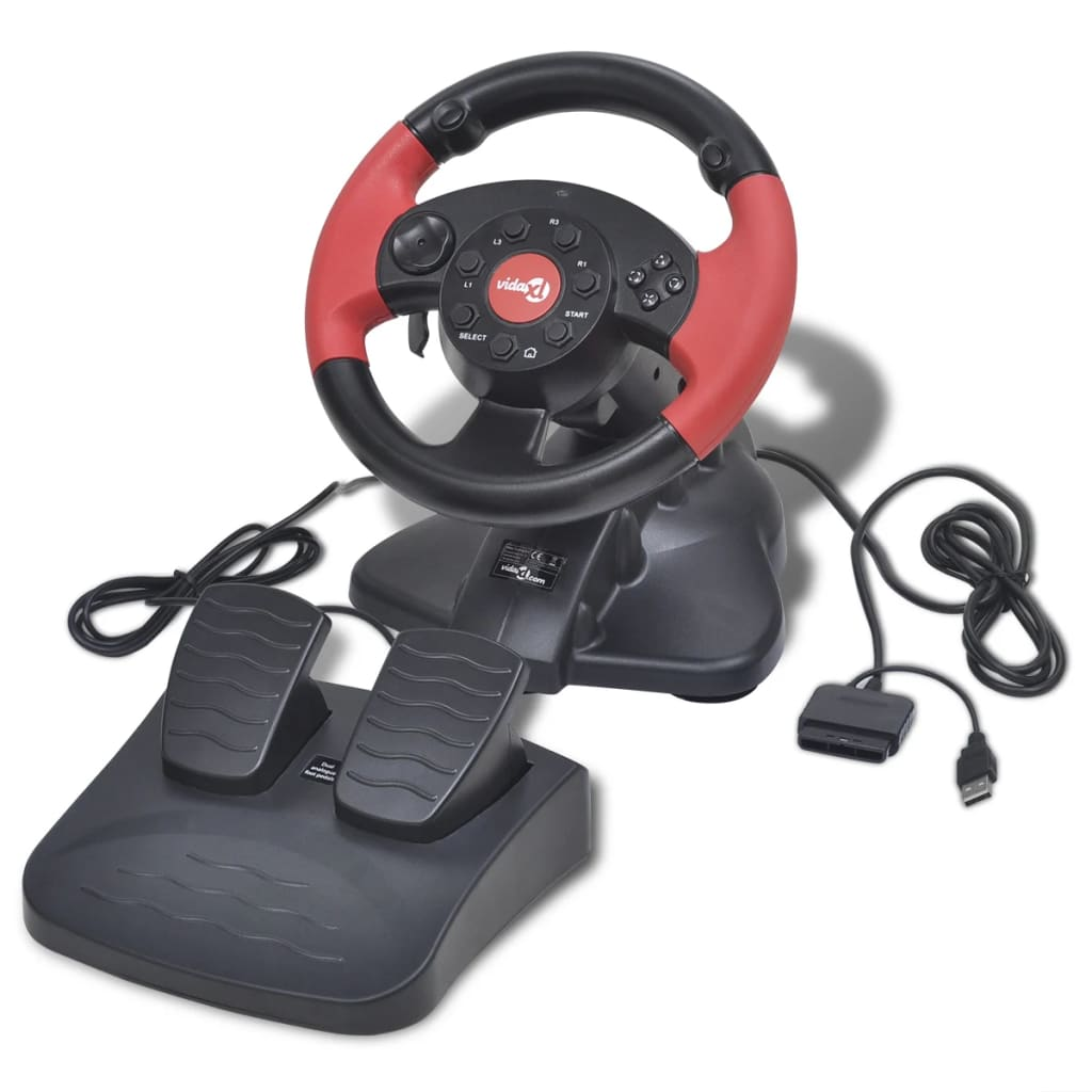 Herní závodní volant pro PS2/PS3/PC, červený