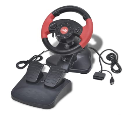 Žaidimų Vairas PS2/PS3/PC, Raudonas[1/8]