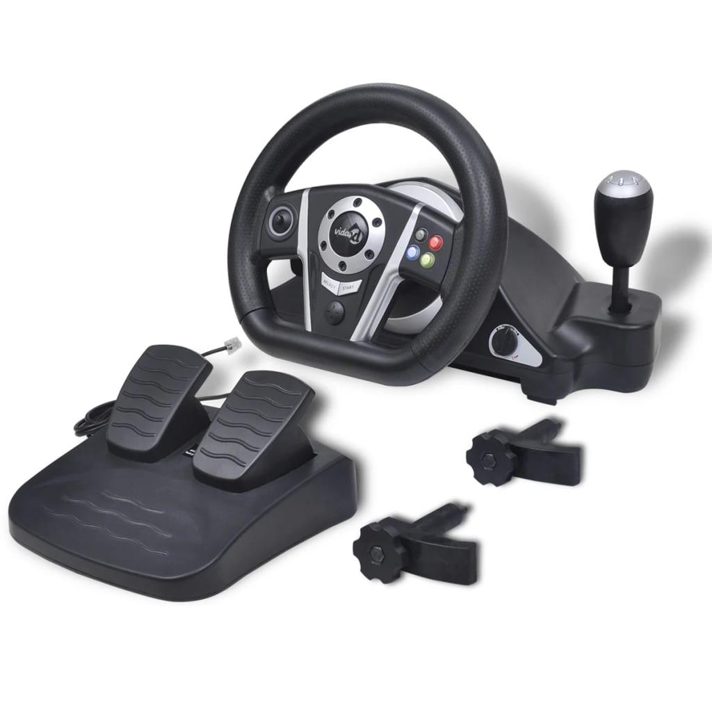 Herní závodní volant pro PS2/PS3/PC, černý