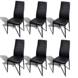 vidaXL Dining Chairs 6 pcs Black Faux Leather