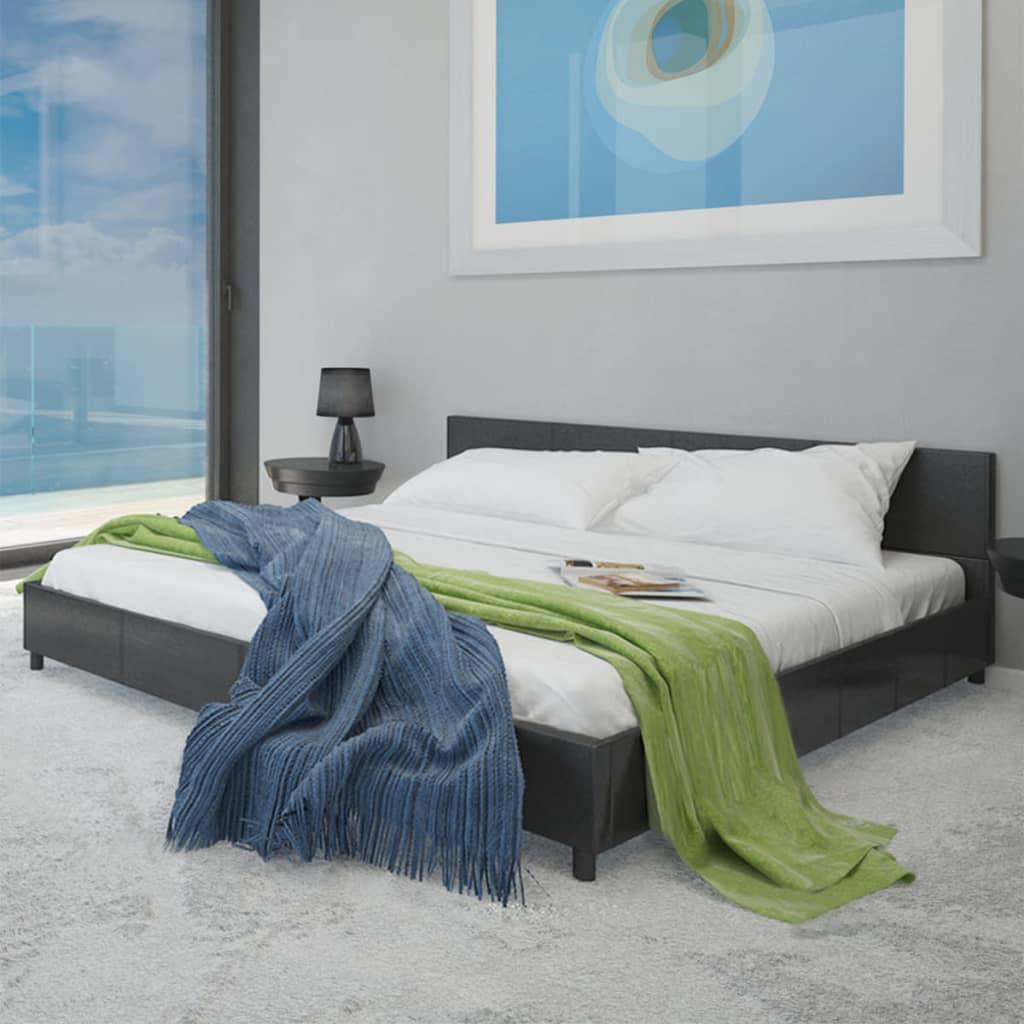 Černá postel umělá kůže 180 cm + matrace + vrchní matrace