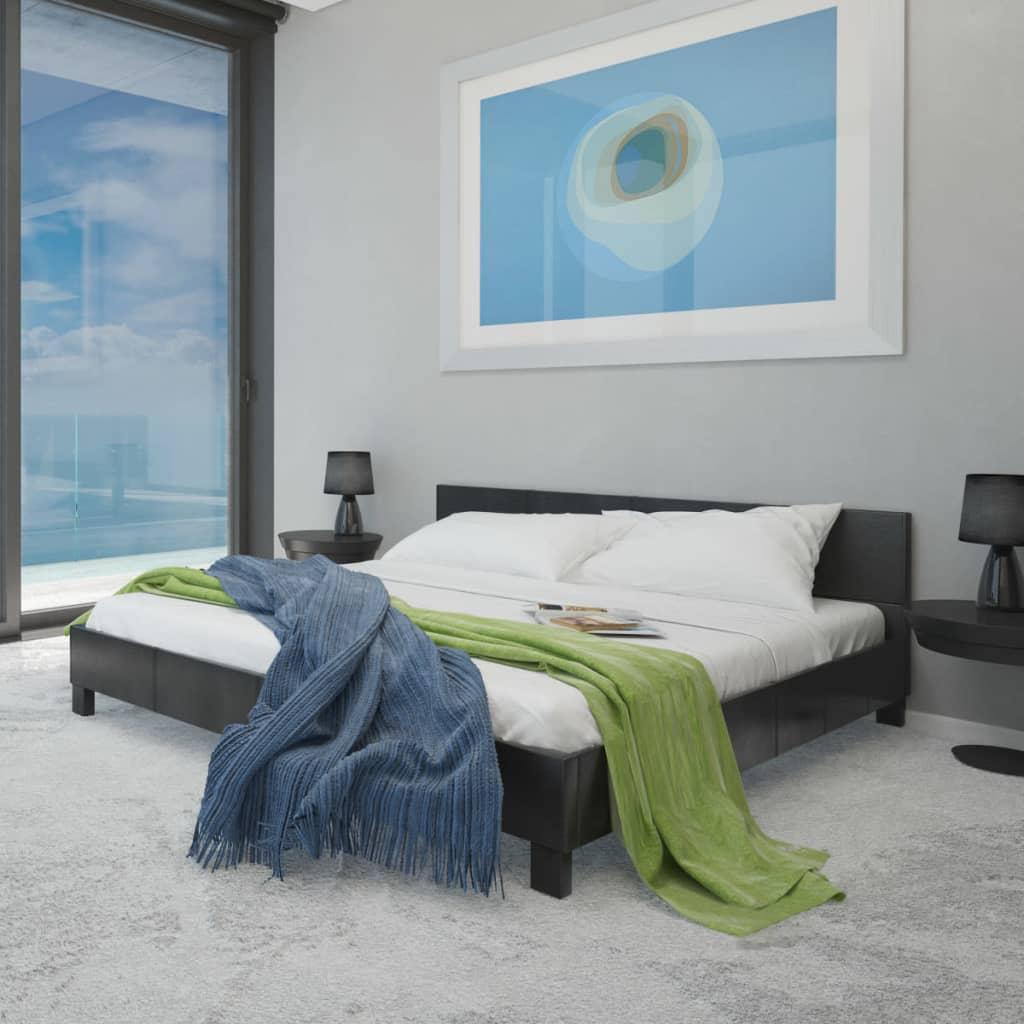 Černá postel z Umělé kůže 140 cm + Matrace + Tenká Matrace s Pamětí
