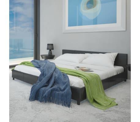 acheter lit en cuir artificiel noir 180 cm matelas m moire surmatelas pas cher. Black Bedroom Furniture Sets. Home Design Ideas