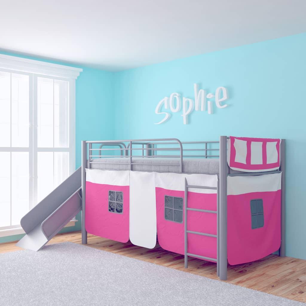 vidaXL Poschoďová postel se skluzavkou, ocelová, růžová 200x100 cm