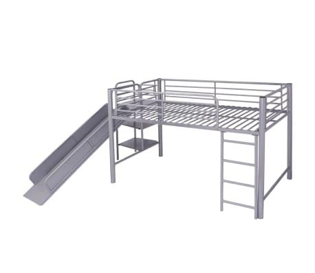 acheter vidaxl lit superpos avec escalier coulissant en acier noir 200x100 cm pas cher. Black Bedroom Furniture Sets. Home Design Ideas