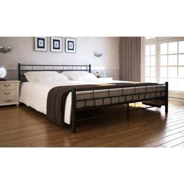 acheter lit en acier enduit de poudre 180 x 200 cm noir pas cher. Black Bedroom Furniture Sets. Home Design Ideas