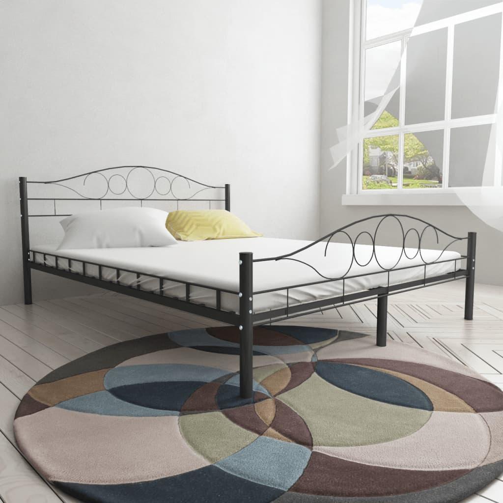 Lakovaná ocelová postel 180 x 200 cm černá kroucená