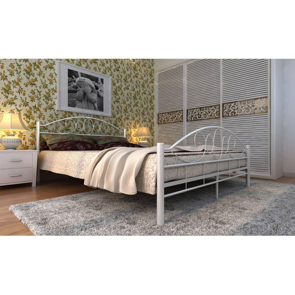 Ocelová postel se spirálovým dekorem 180 x 200 cm nastříkaná na bílo