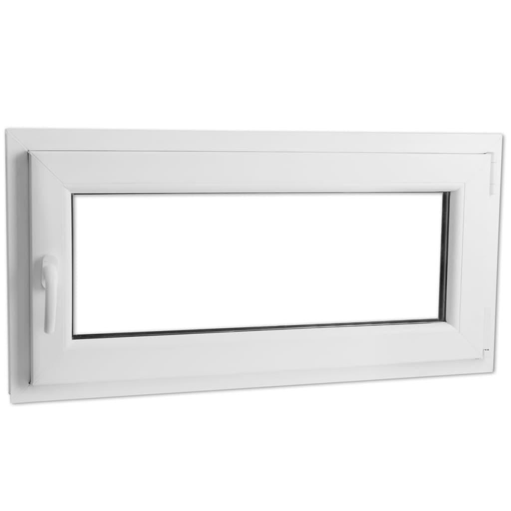 Otevíravě-sklopné okno, trojité sklo, PVC, klika vlevo, 800 x 400 mm