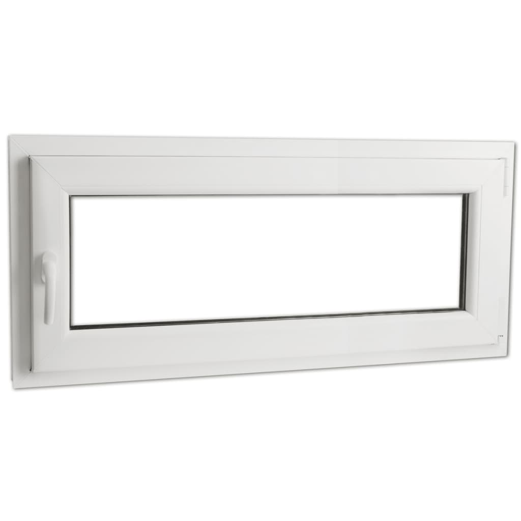 Otevíravě-sklopné okno, trojité sklo, PVC, klika vlevo, 900 x 400 mm