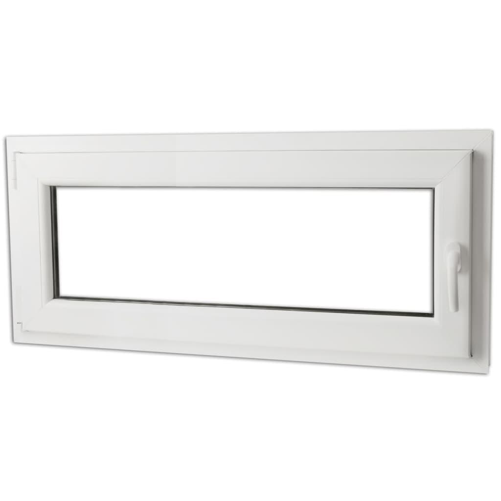 Otevíravě-sklopné okno, trojité sklo, PVC, klika vpravo, 900 x 400 mm