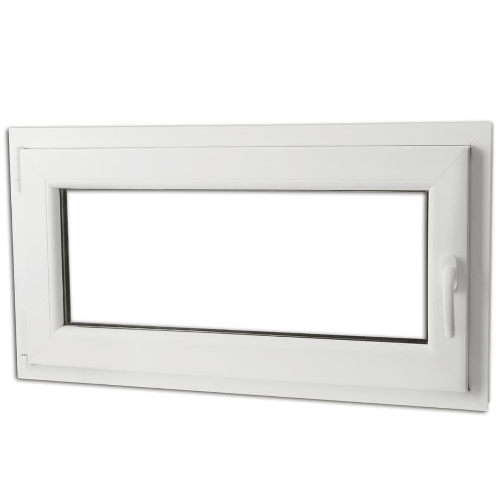 Otevíravě-sklopné okno, trojité sklo, PVC, klika vpravo, 900 x 500 mm
