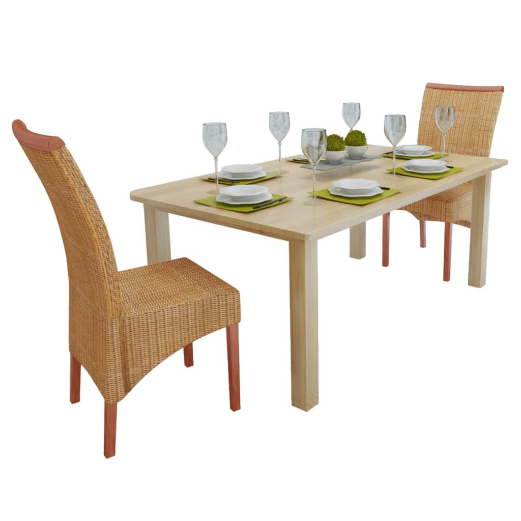 vidaXL Jídelní židle ručně vyplétaný ratan s dřevěnou lištou 2 ks