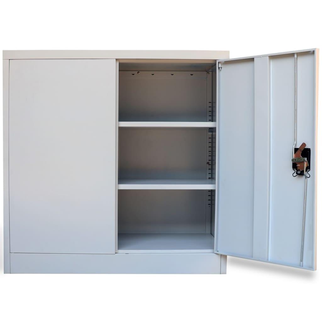 Kancelářská skříň se 2 dvířky šedá 90 cm ocelová