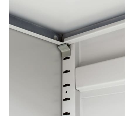 "vidaXL Office Cabinet 2 Doors 35.4""x15.7""x35.4"" Gray Metal[7/8]"