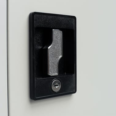 "vidaXL Office Cabinet 2 Doors 35.4""x15.7""x35.4"" Gray Metal[6/8]"