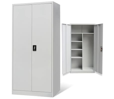 vidaxl schlie fachschrank 2 t ren grau metall g nstig kaufen. Black Bedroom Furniture Sets. Home Design Ideas