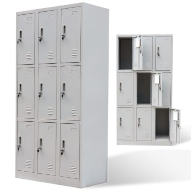 vidaXL Locker Cabinet 9 Doors Gray Metal[1/6]