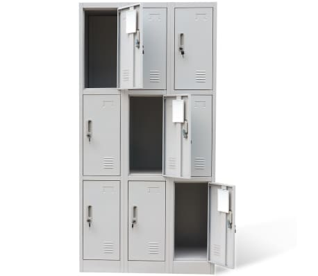 vidaXL Locker Cabinet 9 Doors Gray Metal[4/6]