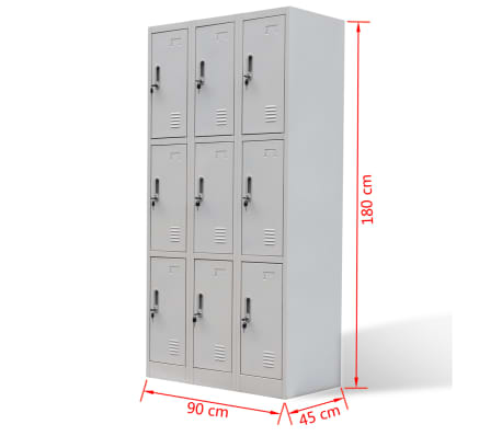vidaXL Locker Cabinet 9 Doors Gray Metal[6/6]