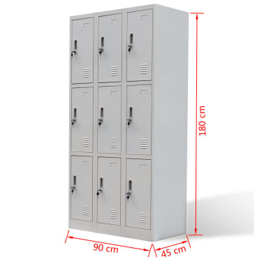 vidaXL Locker Cabinet 9 Doors Grey Metal[6/6]