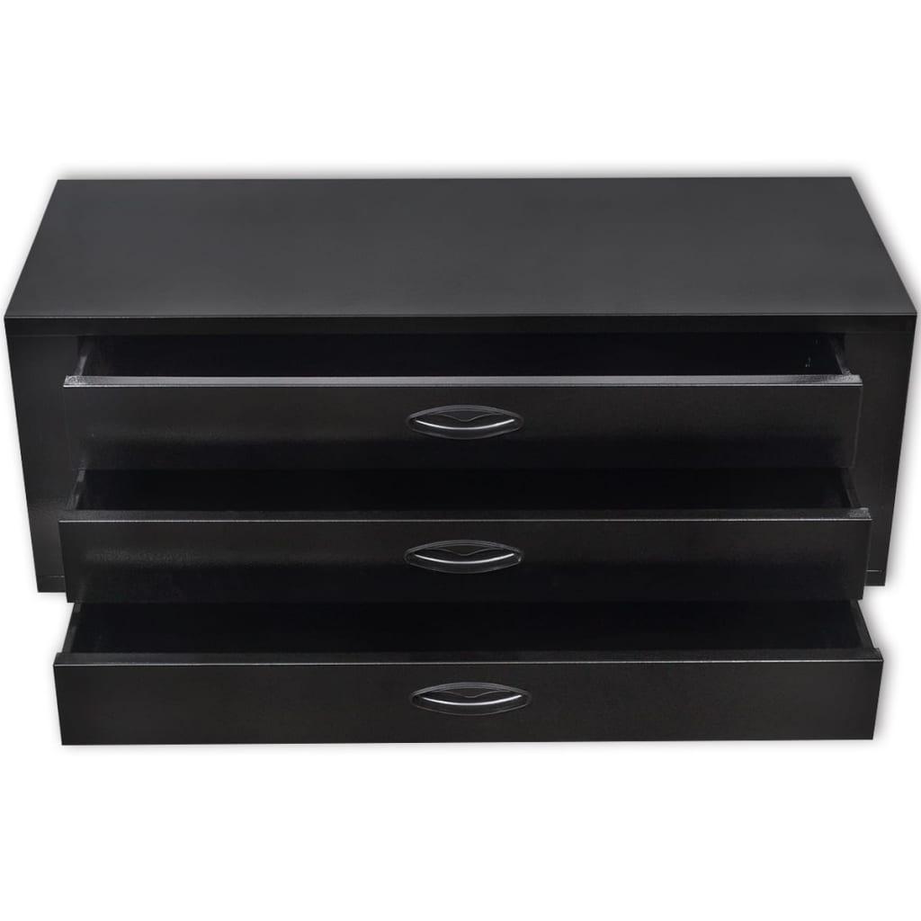 Kovová bedna na nářadí se 3 zásuvkami černá