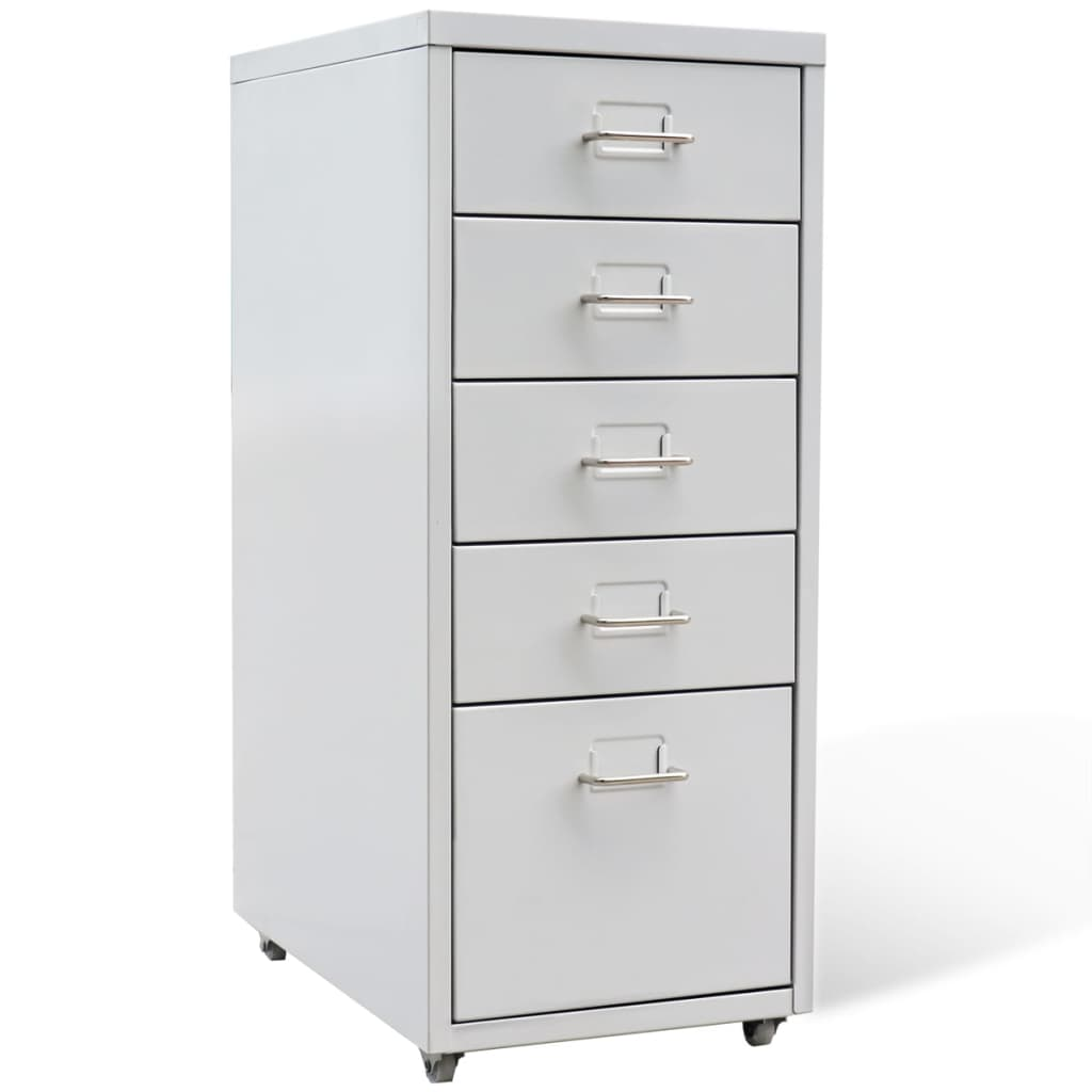 5 Drawer Metal Home Office Filing Cabinet Large File Storage Steel With Castors