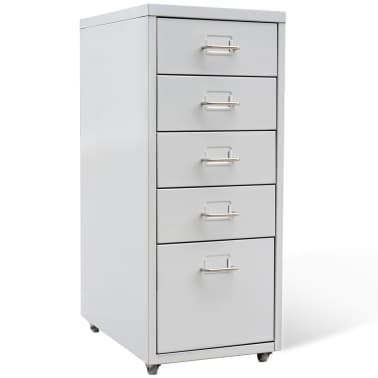 "vidaXL File Cabinet with 5 Drawers Gray 27"" Steel[1/7]"