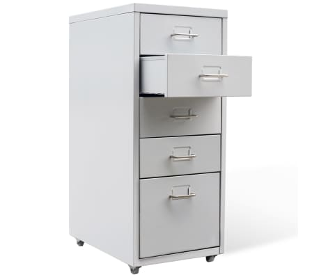 "vidaXL File Cabinet with 5 Drawers Gray 27"" Steel[2/7]"