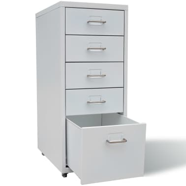 "vidaXL File Cabinet with 5 Drawers Gray 27"" Steel[3/7]"