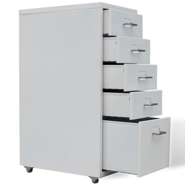 "vidaXL File Cabinet with 5 Drawers Gray 27"" Steel[4/7]"