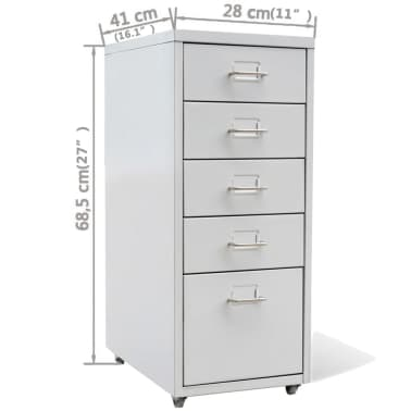 "vidaXL File Cabinet with 5 Drawers Gray 27"" Steel[7/7]"