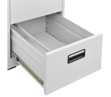 vidaXL File Cabinet with 3 Drawers Gray Metal[8/8]