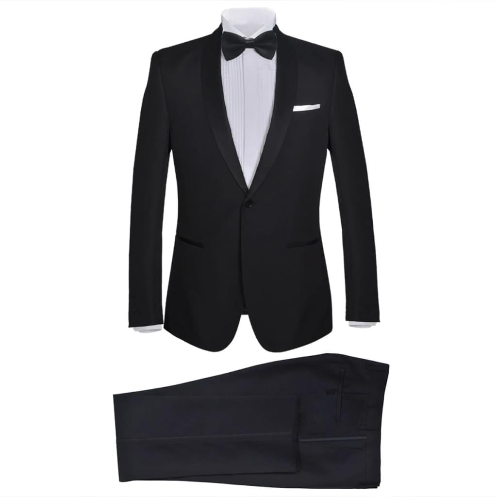 99130825 2-tlg. Herren-Abendanzug/Smoking Tuxedo Schwarz Größe 52
