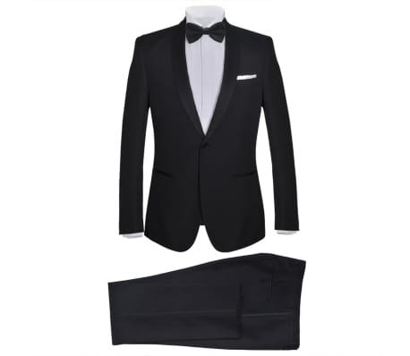 vidaXL vīriešu smokings, uzvalks 2-daļīgs, 52. izmērs, melns