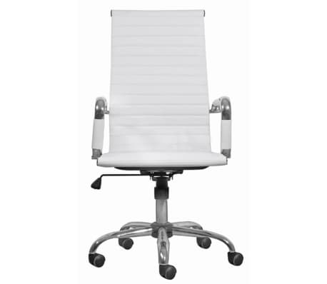 White Leather Office Chair High Back Vidaxl Com