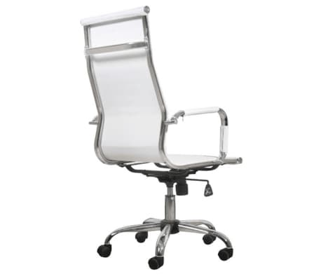 White Leather Office Chair High Back[3/3]