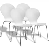 4 Stackable Butterfly Dining Chairs White