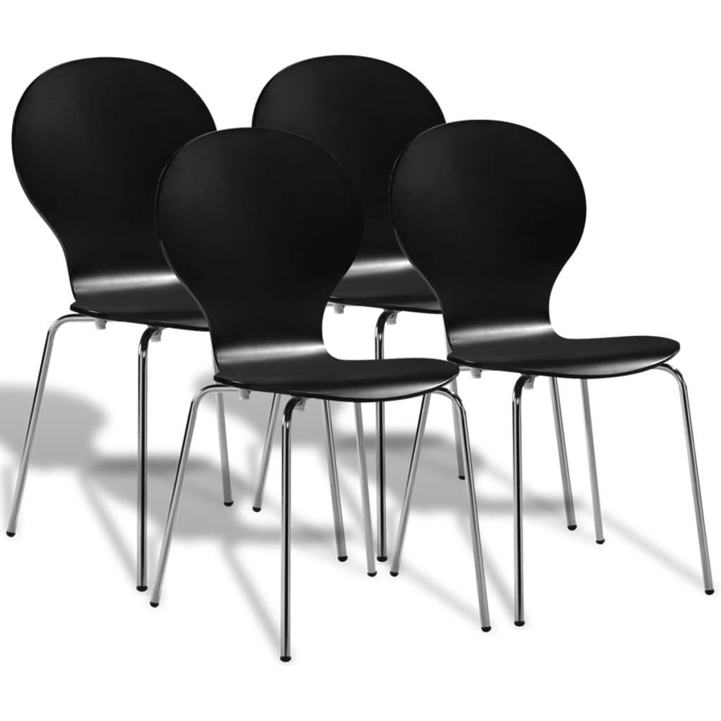 vidaXL Καρέκλες Τραπεζαρίας Στοιβαζόμενες 4 τεμ. Μαύρες
