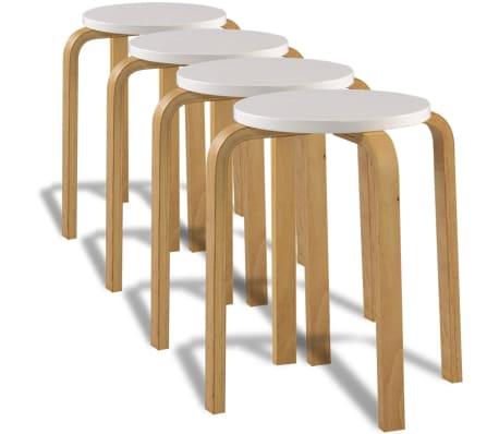 vidaXL Taburetes apilables madera curvada blanco[1/7]