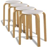 4 White Stackable Solid Bentwood Stools
