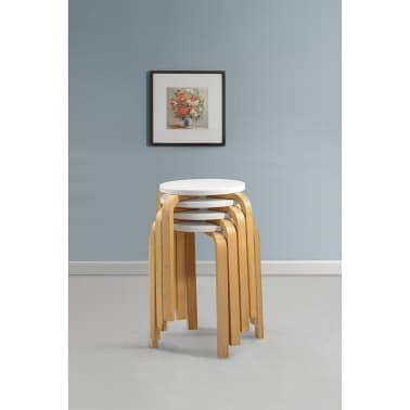 acheter 4 tabourets empilables en bois cintr blanc pas cher. Black Bedroom Furniture Sets. Home Design Ideas