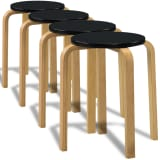 4 Black Stackable Solid Bentwood Stools