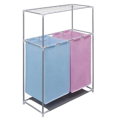 2 Section Laundry Sorter Hamper With A Top Shelf For Drying1 5