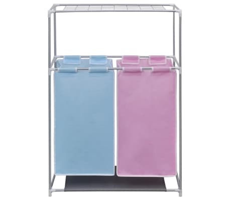 2 Section Laundry Sorter Hamper With A Top Shelf For Drying2 5